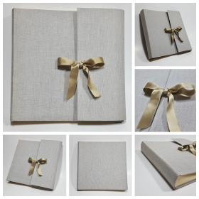 Photo album with flap made of natural canvas renk with sage satin bow