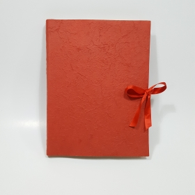 Photo album of paper mulberry red and red satin ribbon
