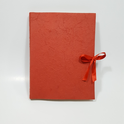 Photo album with flap made with paper mulberry red and red satin bow