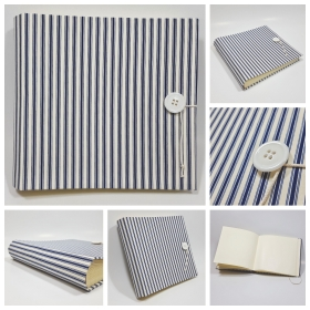 Album fotografico Genova rivestito in tela rigata blue e bianca