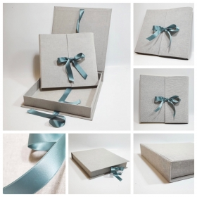 Photo album natural canvas renk with sage satin ribbow