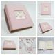 Album fotografico tela rosa e decorazione decoupage