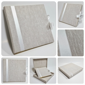 Photo Albums coated in natural linen, with insert and white satin ribbon