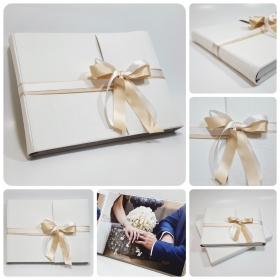 Foto libro in lino naturale e doppio nastro di raso