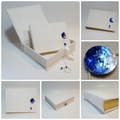Album fotografico tela del casaro bianca e bottone decorato a mano