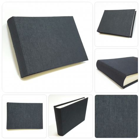 Photo album covered in canvas buchram ivory