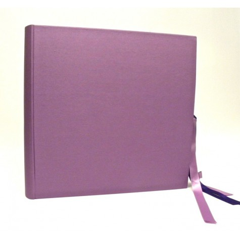 Photo album made with cialux lilac canvas with double satin bow