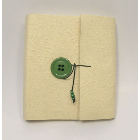Photo album with flap made with mulberry yellow and green with button closure and lanyard