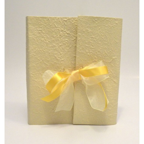 Photo album with flap made with yellow mulberry paper and double satin bow and organza