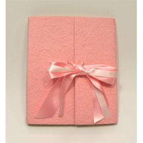 Photo album with flap made with mulberry paper rose and double satin bow and organza