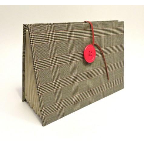 Portadocumenti a scomparti rivestito in tessuto di lana