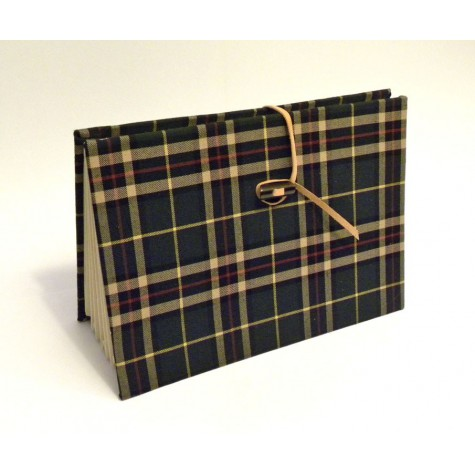 Document holder made of green tartan wool fabric with leather closure