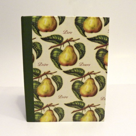 Cookbook made with paper printed with pears and green canvas back