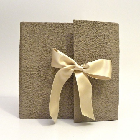 Photo Album covered with paper Moonrock sand and ivory satin bow
