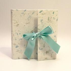Photo album baptism coated paper provence turquoise with turquoise satin bow