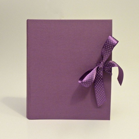 Photo albums coated canvas Cialux lilac with lilac polka dots satin bow